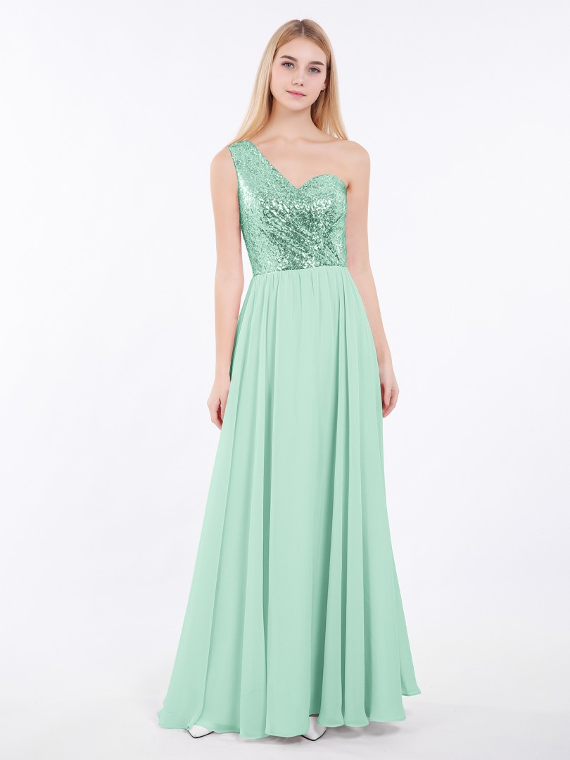 A-line Sequin Mint Green Criss-Cross Straps Ruched Floor-length One Shoulder Sleeveless Bridesmaid Dresses