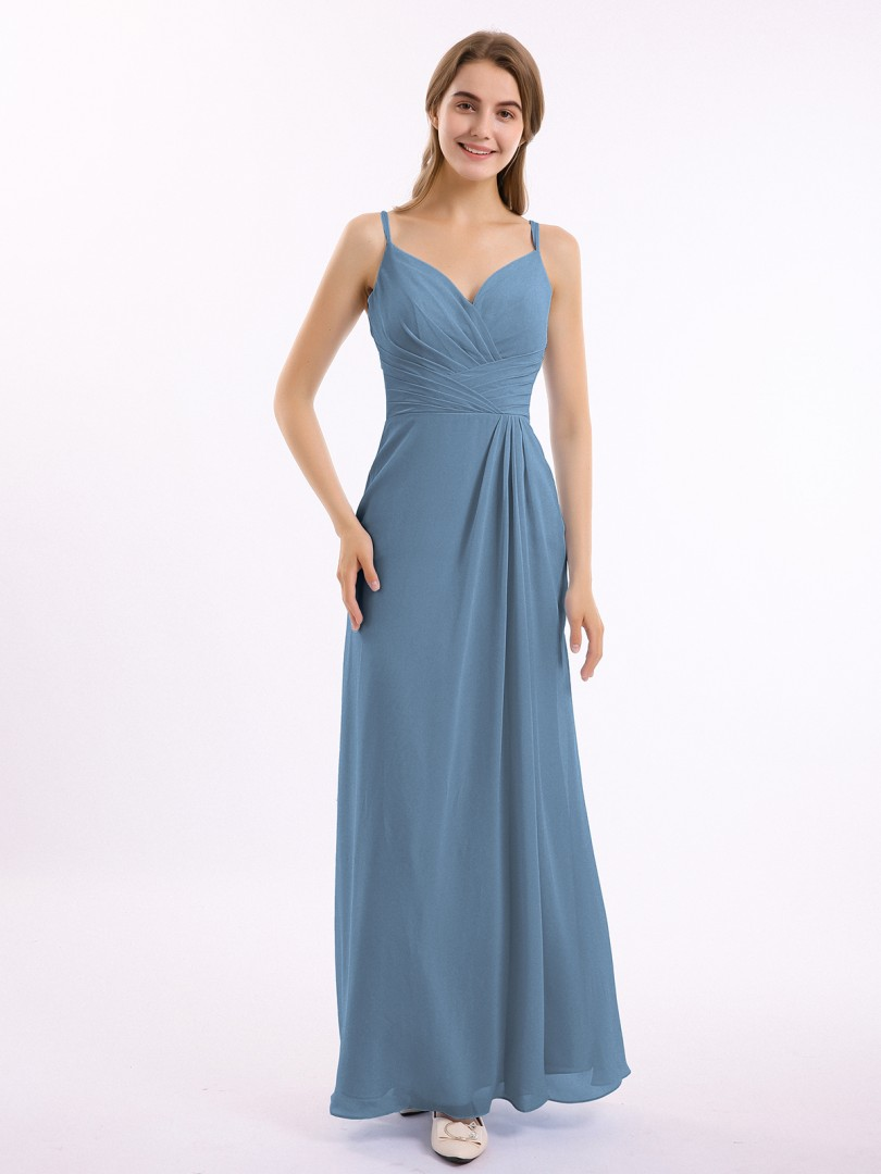 A-line Chiffon Regency Zipper Side Bow, Ruched, Pleated Floor-length Sweetheart Spaghetti Straps Long Bridesmaid Dresses