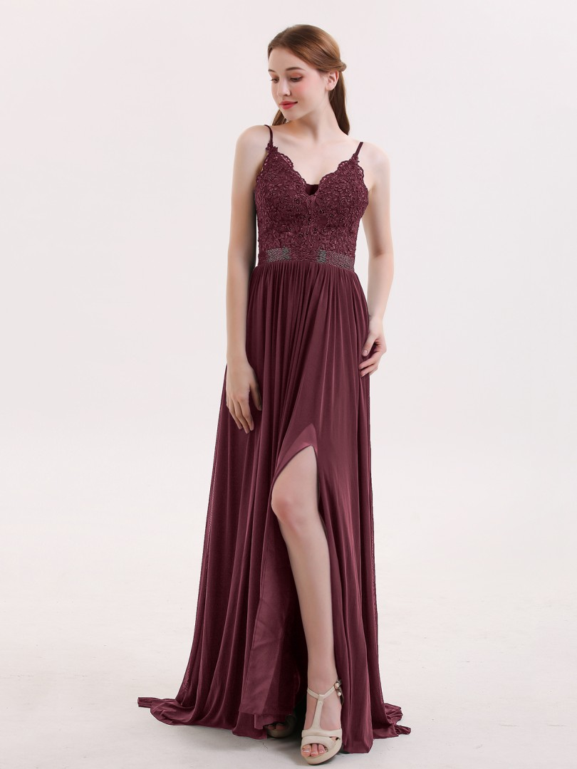 A-line Jersey Dark Navy Criss-Cross Straps Appliqued, Beaded Sweep/Brush Train V-neck Spaghetti Straps Sexy Prom Dresses