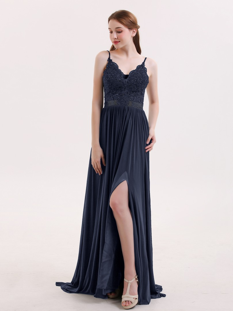 A-line Jersey Dark Navy Criss-Cross Straps Appliqued, Beaded Sweep/Brush Train V-neck Spaghetti Straps Prom Dresses