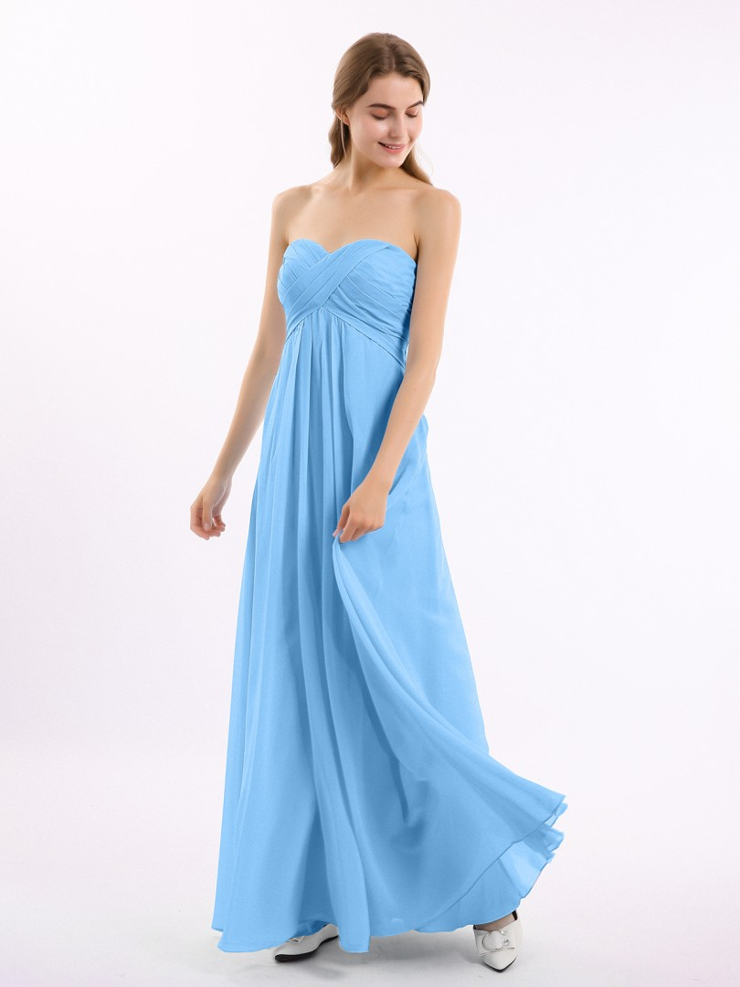 A-line Chiffon Cabernet Zipper Side Ruched, Pleated Floor-length Sweetheart Sleeveless New Arrivals