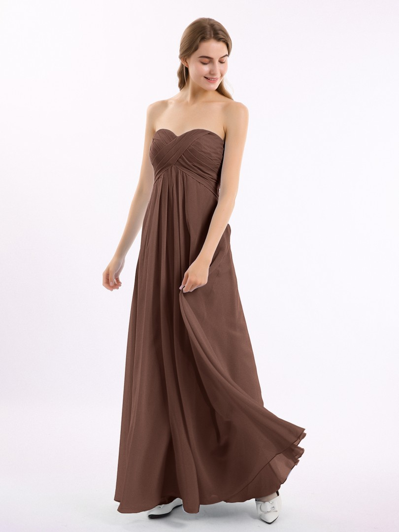 A-line Chiffon Cabernet Zipper Side Ruched, Pleated Floor-length Sweetheart Sleeveless Long Bridesmaid Dresses