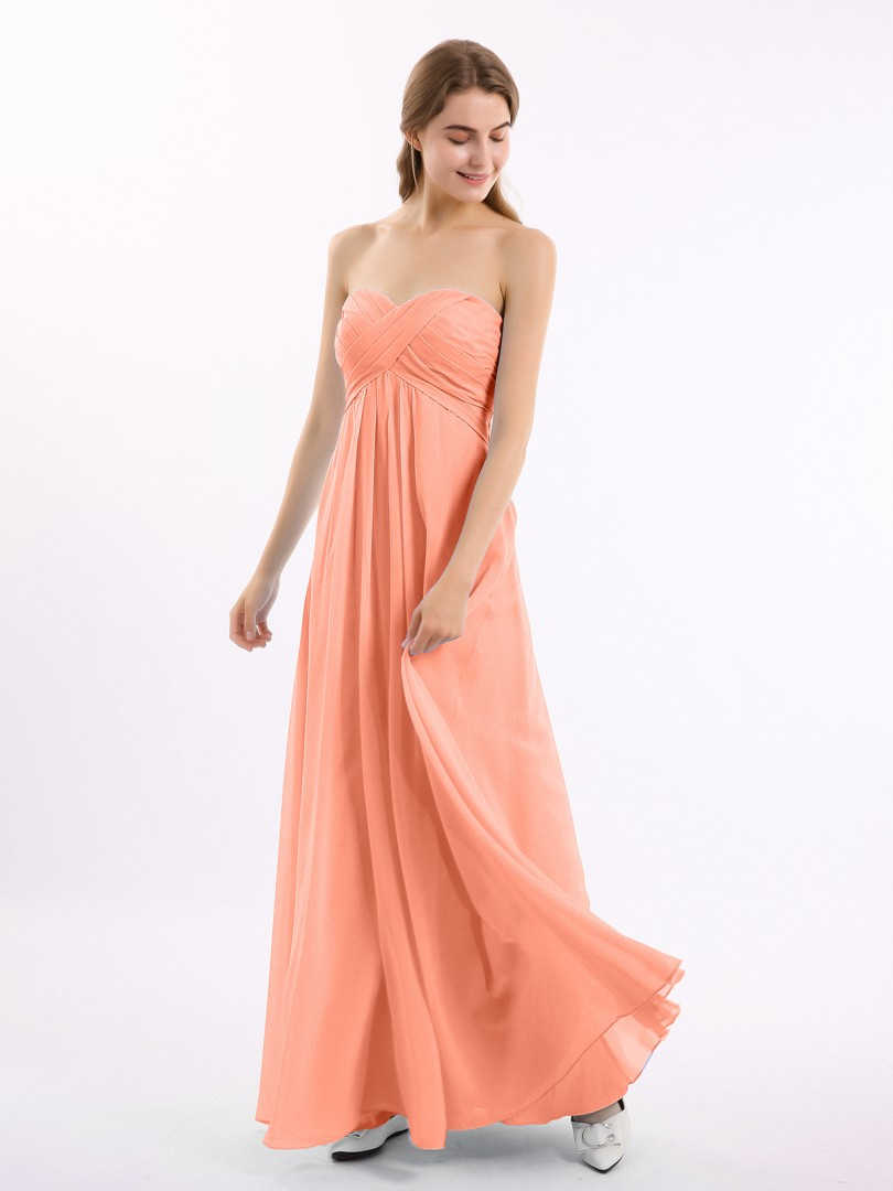 A-line Chiffon Cabernet Zipper Side Ruched, Pleated Floor-length Sweetheart Sleeveless Bridesmaid Dresses