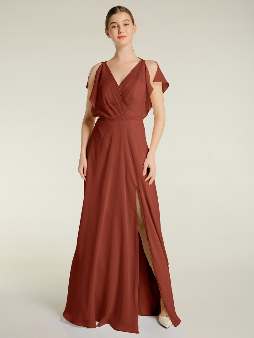 A-line Chiffon Rust Zipper Pleated Floor-length V-neck Sleeveless New Arrivals