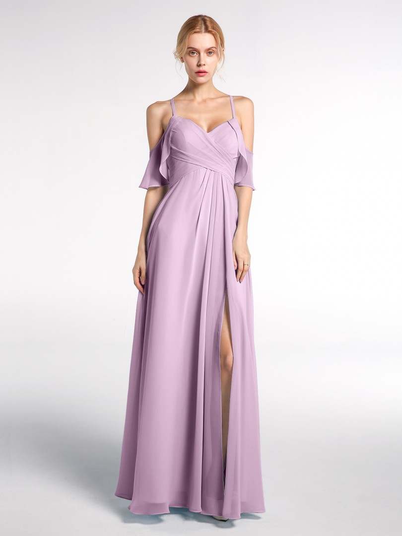 Empire Chiffon Wisteria Zipper  Floor-length Sweetheart Spaghetti Straps Bridesmaid Dresses