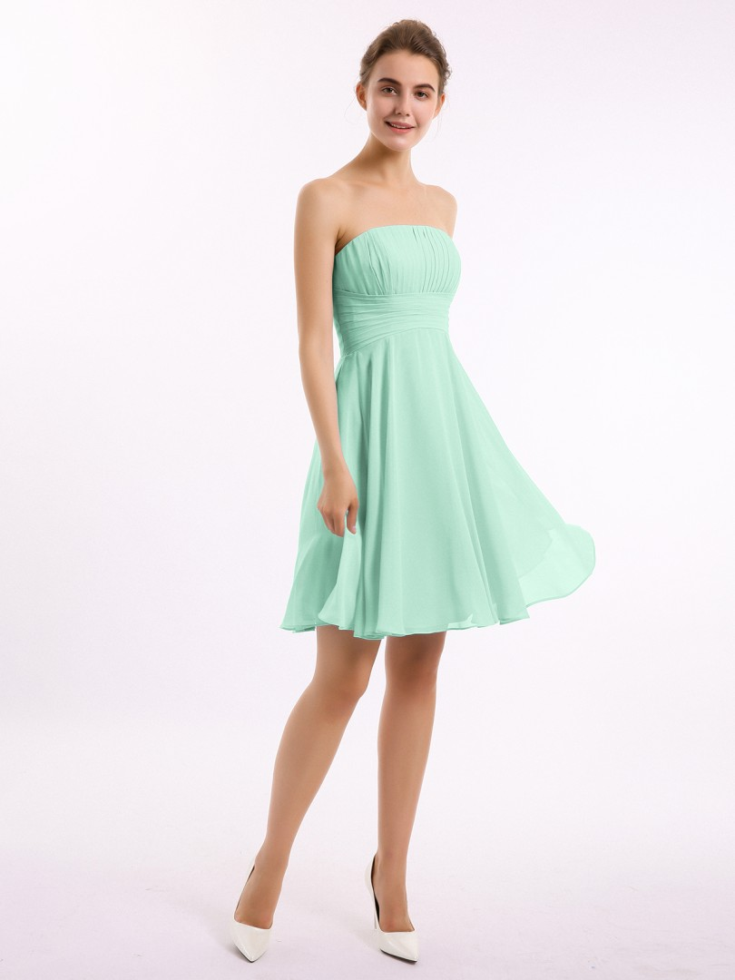 A-line Chiffon Slate Blue Zipper Pleated Knee-length Strapless Sleeveless Short Bridesmaid Dresses