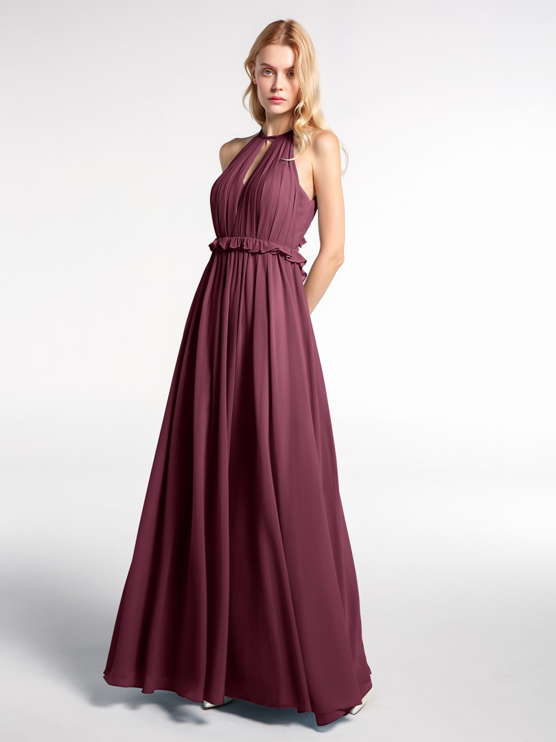A-line Chiffon Mulberry Backless  Floor-length Halter Sleeveless Long Bridesmaid Dresses