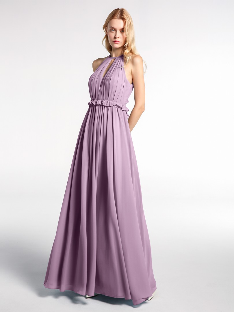 A-line Chiffon Mulberry Backless  Floor-length Halter Sleeveless New Arrivals