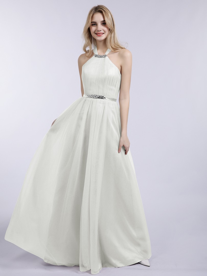 A-line Tulle Silver Zipper Beaded, Pleated Floor-length Halter Sleeveless New Arrivals