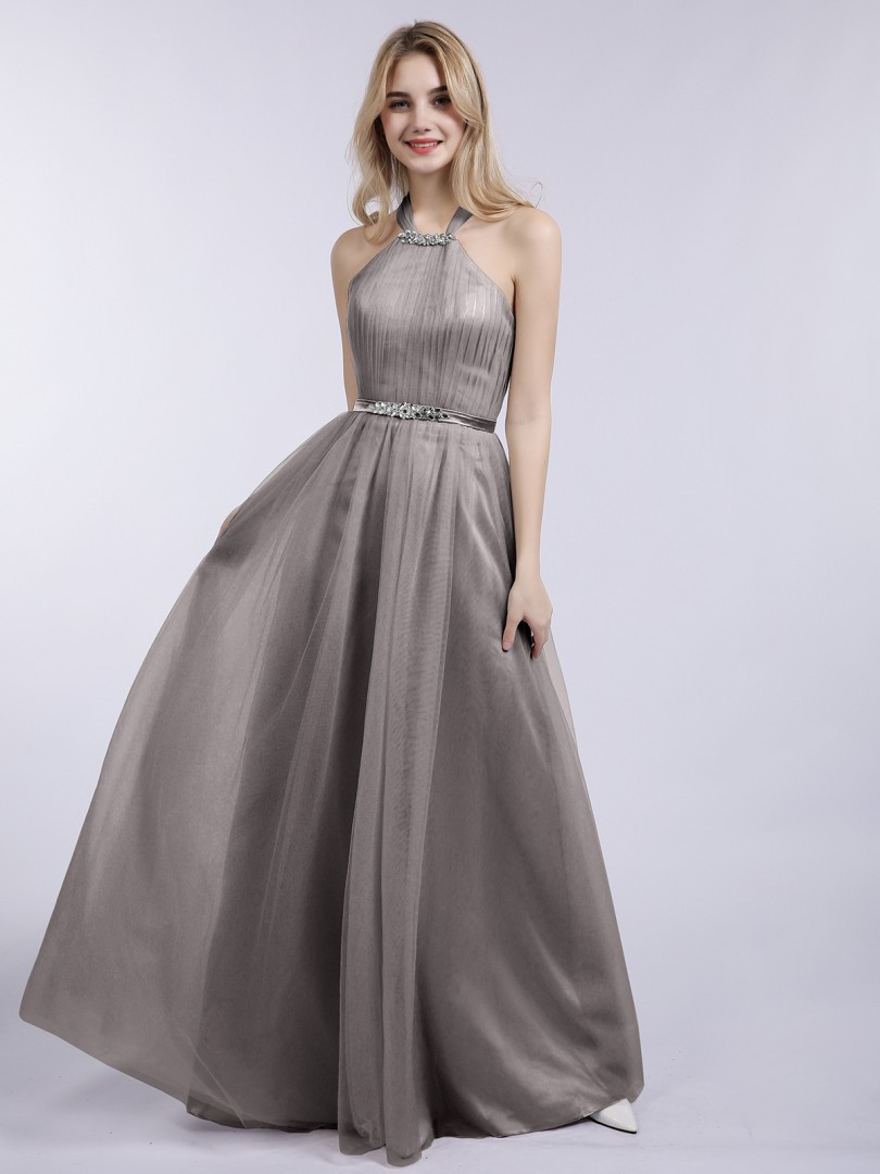A-line Tulle Silver Zipper Beaded, Pleated Floor-length Halter Sleeveless Prom Dresses