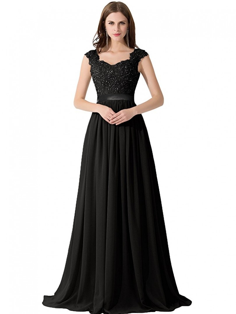 A-line Chiffon Black Zipper Side Appliqued, Beaded, Ruched Floor-length Scoop Sleeveless Prom Dresses