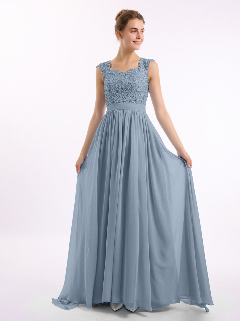 A-line Chiffon Dusty Blue Zipper Side Appliqued, Beaded, Ruched Floor-length Scoop Cap Sleeve Prom Dresses