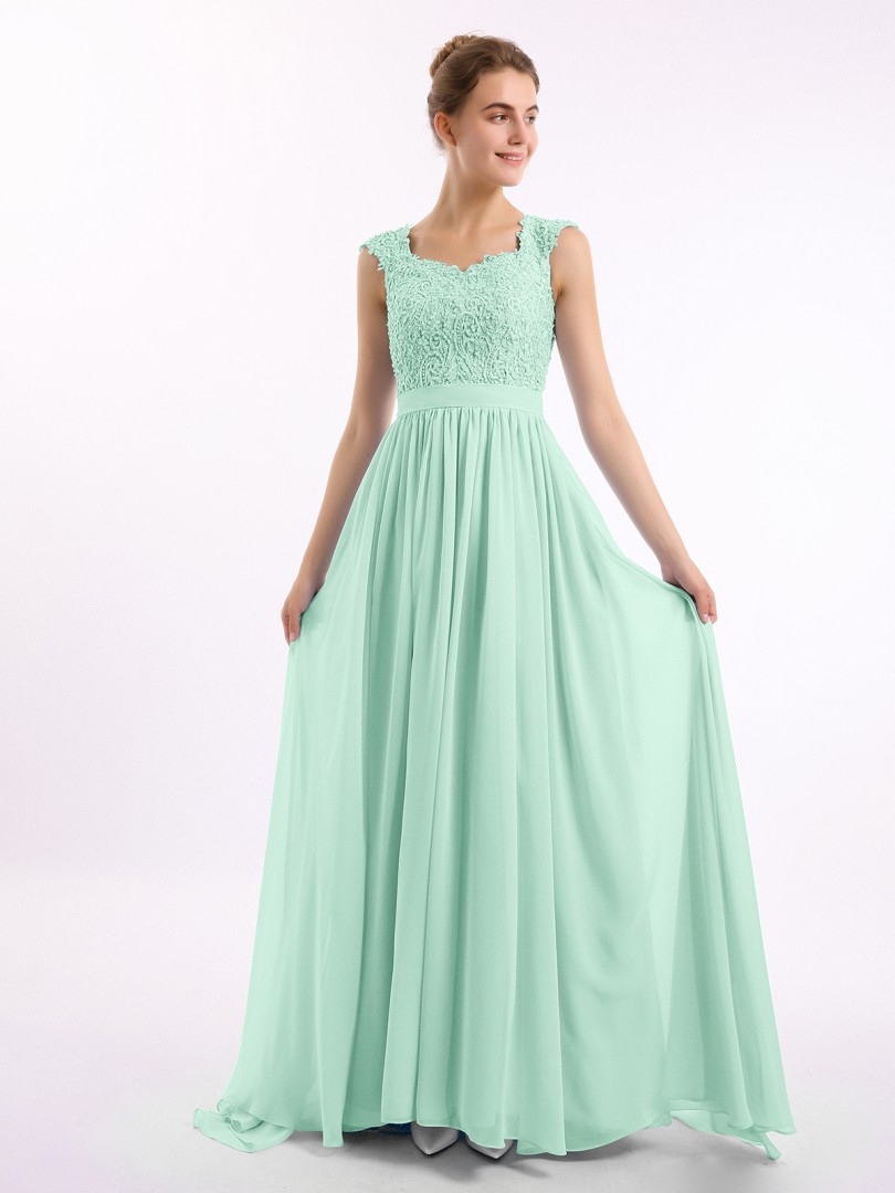 A-line Chiffon Dusty Blue Zipper Side Appliqued, Beaded, Ruched Floor-length Scoop Cap Sleeve Long Bridesmaid Dresses