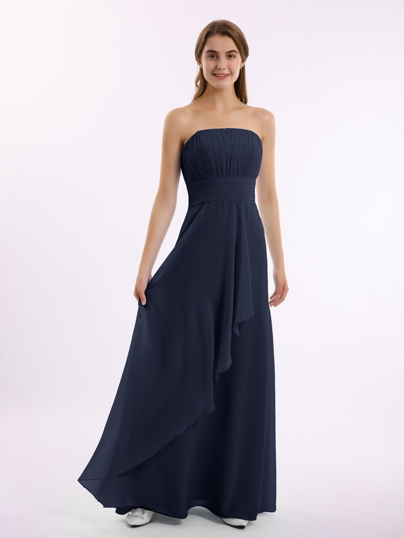 A-line Chiffon Ink Blue Zipper Pleated Floor-length Strapless Sleeveless Long Bridesmaid Dresses