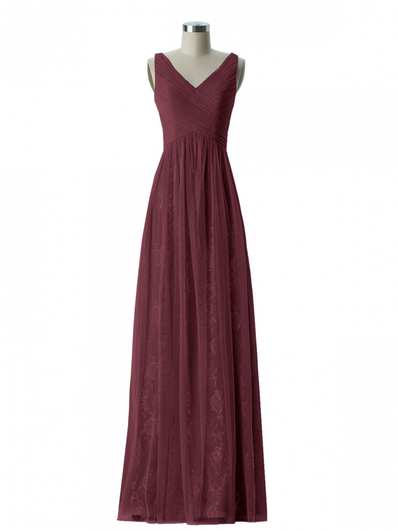 A-line Lace Flamingo Zipper Ruched, Pleated Floor-length V-neck Straps Long Bridesmaid Dresses