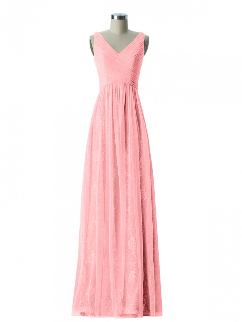 A-line Lace Flamingo Zipper Ruched, Pleated Floor-length V-neck Straps Prom Dresses
