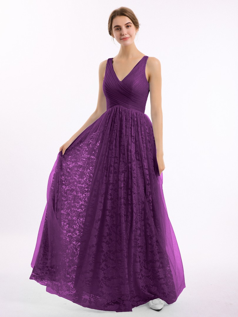 A-line Lace Wisteria Zipper Ruched, Pleated Floor-length V-neck Straps New Arrivals