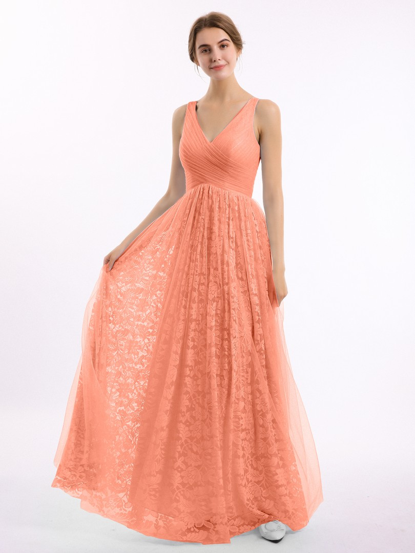 A-line Lace Wisteria Zipper Ruched, Pleated Floor-length V-neck Straps Long Bridesmaid Dresses