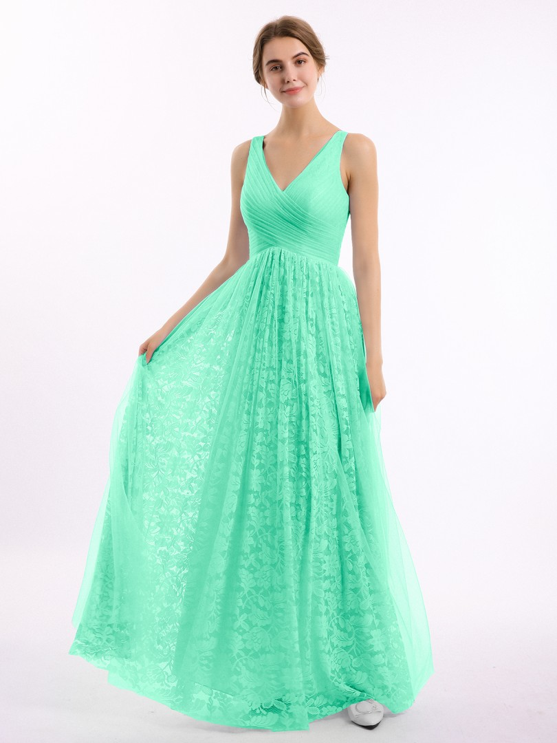 A-line Lace Wisteria Zipper Ruched, Pleated Floor-length V-neck Straps Bridesmaid Dresses