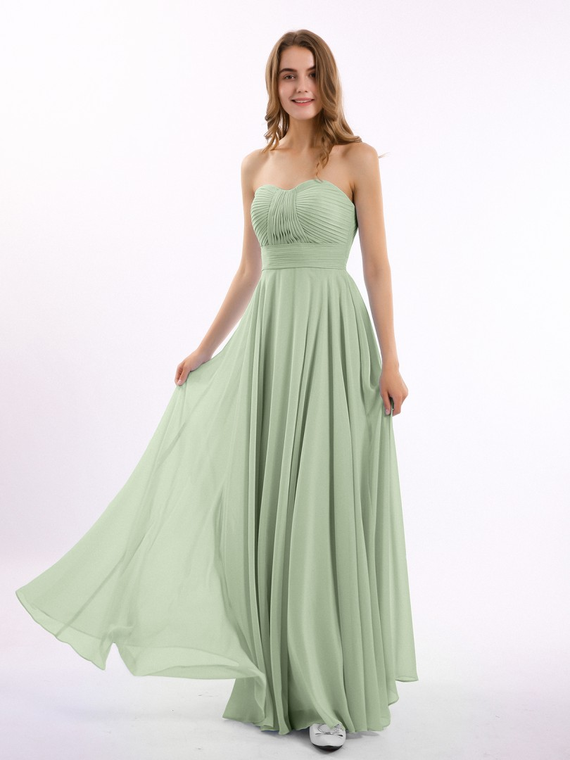 A-line Chiffon Dusty Sage Zipper Ruched, Pleated Floor-length Sweetheart Sleeveless Long Bridesmaid Dresses