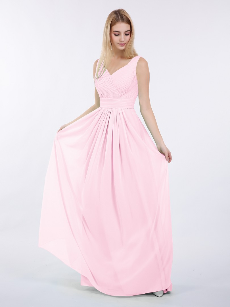 A-line Chiffon Mint Green Zipper Ruched, Pleated Floor-length V-neck Sleeveless Bridesmaid Dresses