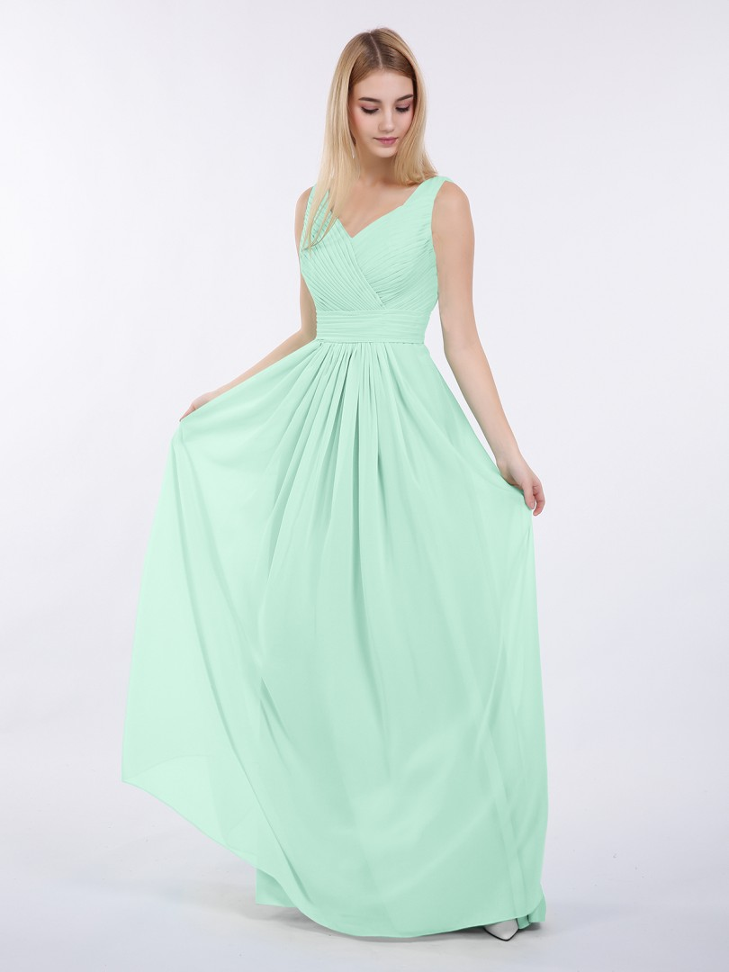 A-line Chiffon Mint Green Zipper Ruched, Pleated Floor-length V-neck Sleeveless Long Bridesmaid Dresses