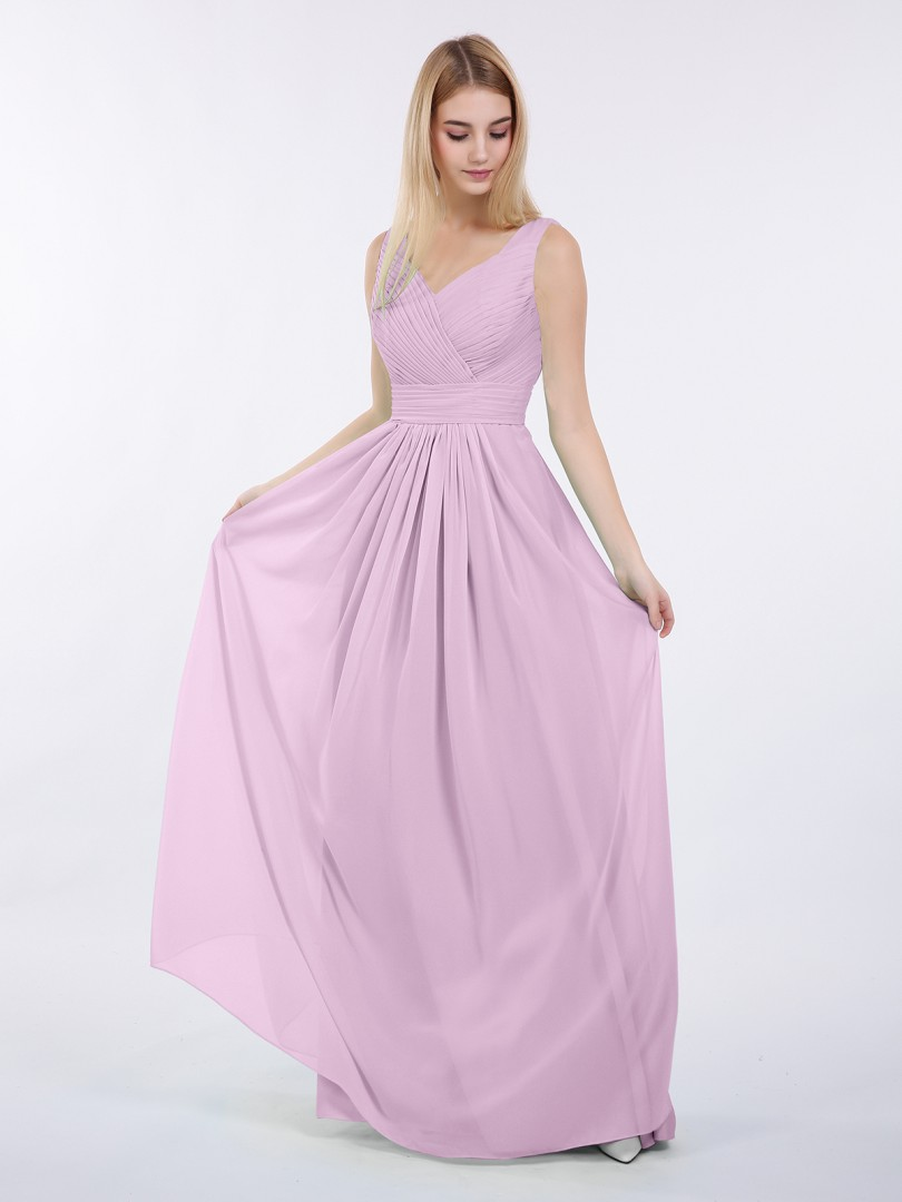A-line Chiffon Mint Green Zipper Ruched, Pleated Floor-length V-neck Sleeveless New Arrivals