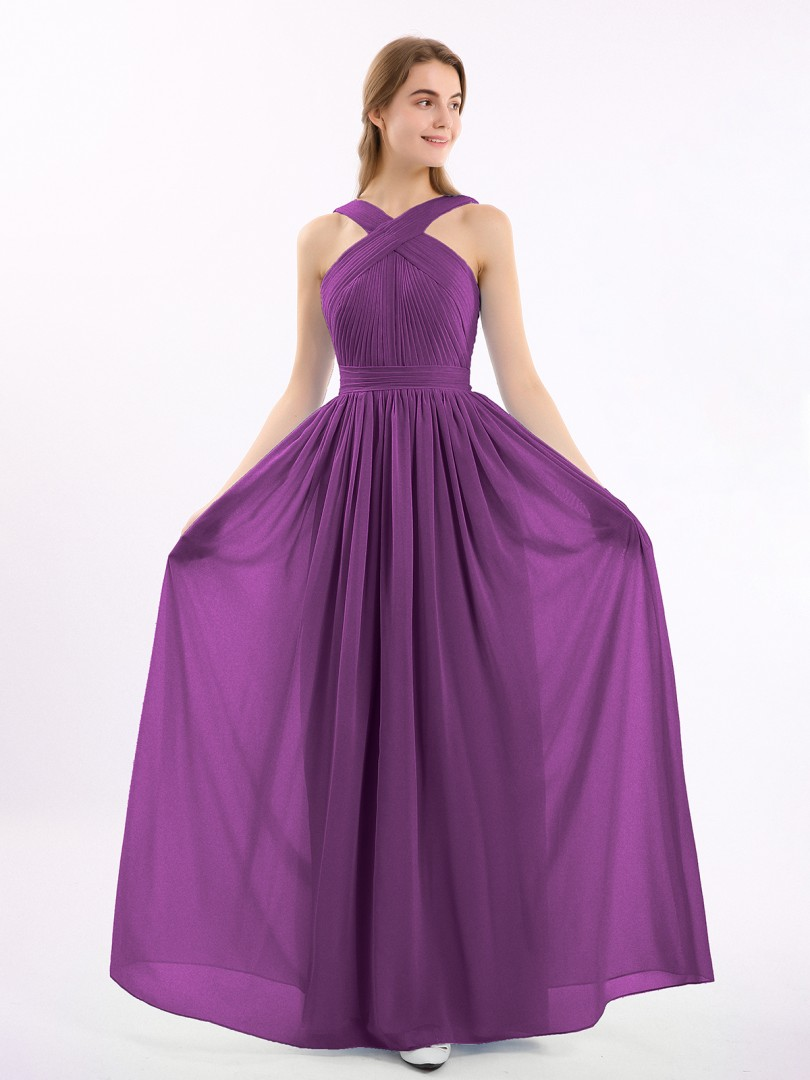 A-line Chiffon Grape Zipper Bow, Ruched, Pleated Floor-length Scoop Sleeveless Bridesmaid Dresses