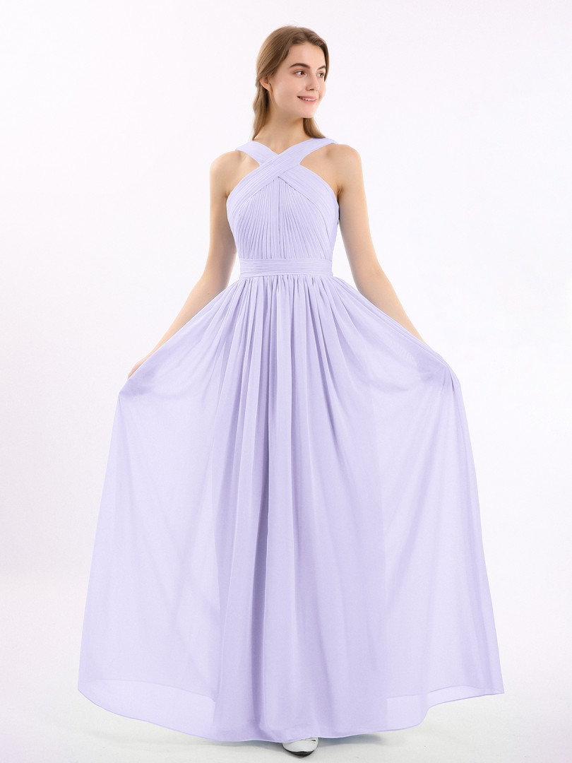A-line Chiffon Grape Zipper Bow, Ruched, Pleated Floor-length Scoop Sleeveless Bridesmaid Dresses Under 100