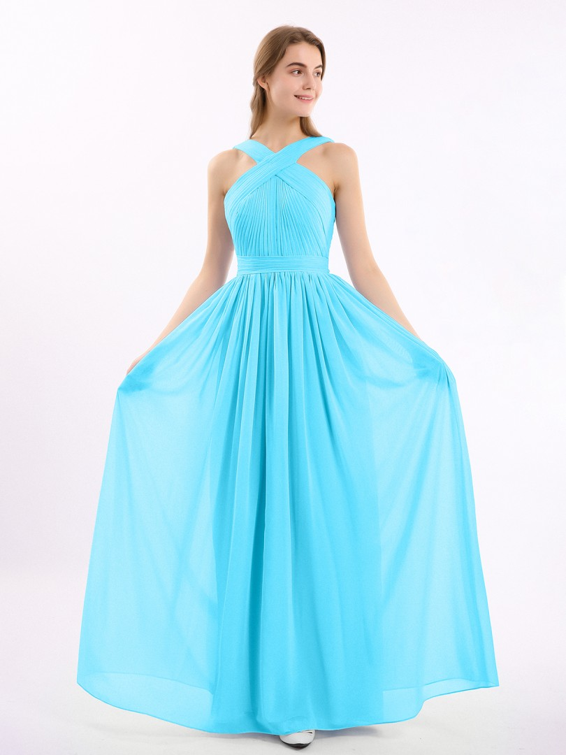 A-line Chiffon Grape Zipper Bow, Ruched, Pleated Floor-length Scoop Sleeveless Long Bridesmaid Dresses
