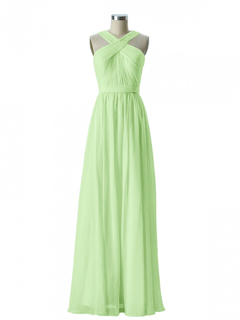 e02fb40ad303c3 ... Long Bridesmaid Dresses; Babaroni Candance. A-line Chiffon Lemon Zipper  Bow, Ruched, Pleated Floor-length Scoop Sleeveless