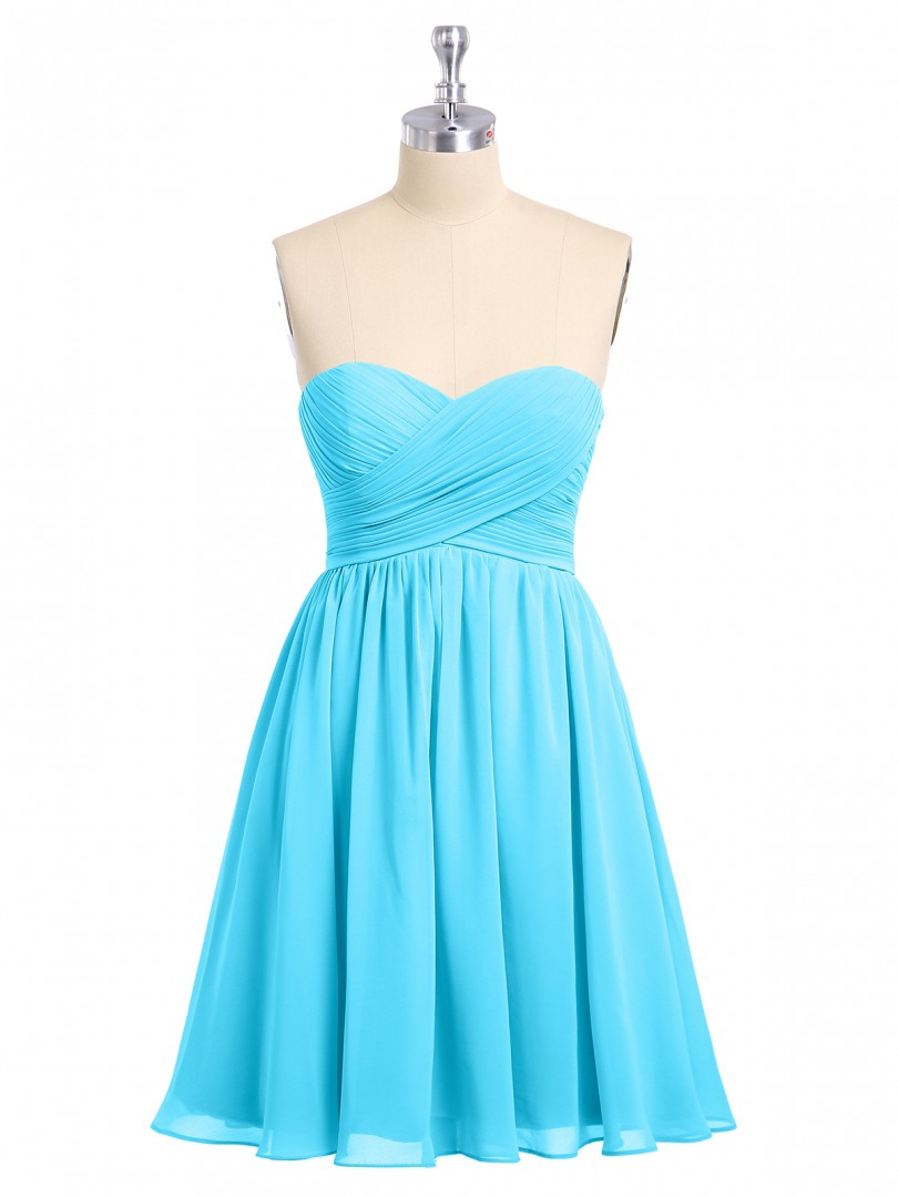 Empire Chiffon Pool Zipper Ruched, Pleated Short/Mini Sweetheart Sleeveless Bridesmaid Dresses