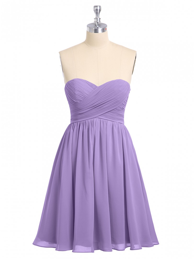 Empire Chiffon Pool Zipper Ruched, Pleated Short/Mini Sweetheart Sleeveless Short Bridesmaid Dresses