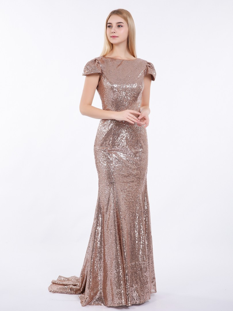 Trumpet/Mermaid Sequin Metallic Gold Zipper Sequins Sweep/Brush Train Bateau Cap Sleeve Long Bridesmaid Dresses