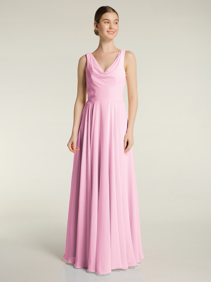 A-line Chiffon Candy Pink Zipper Ruched Floor-length V-neck Sleeveless Bridesmaid Dresses