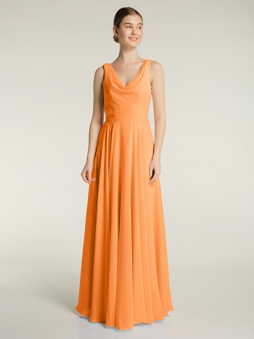 A-line Chiffon Candy Pink Zipper Ruched Floor-length V-neck Sleeveless Long Bridesmaid Dresses
