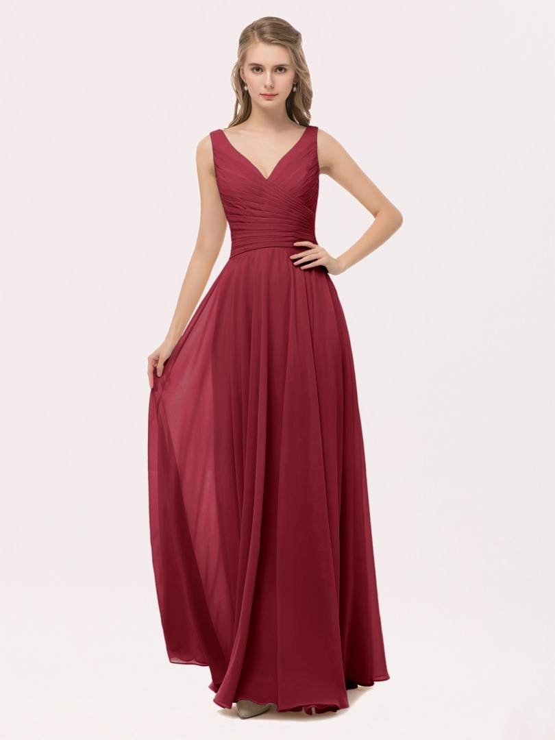 A-line Chiffon Peach Zipper Bow, Sash, Pleated Floor-length V-neck Straps Bridesmaid Dresses
