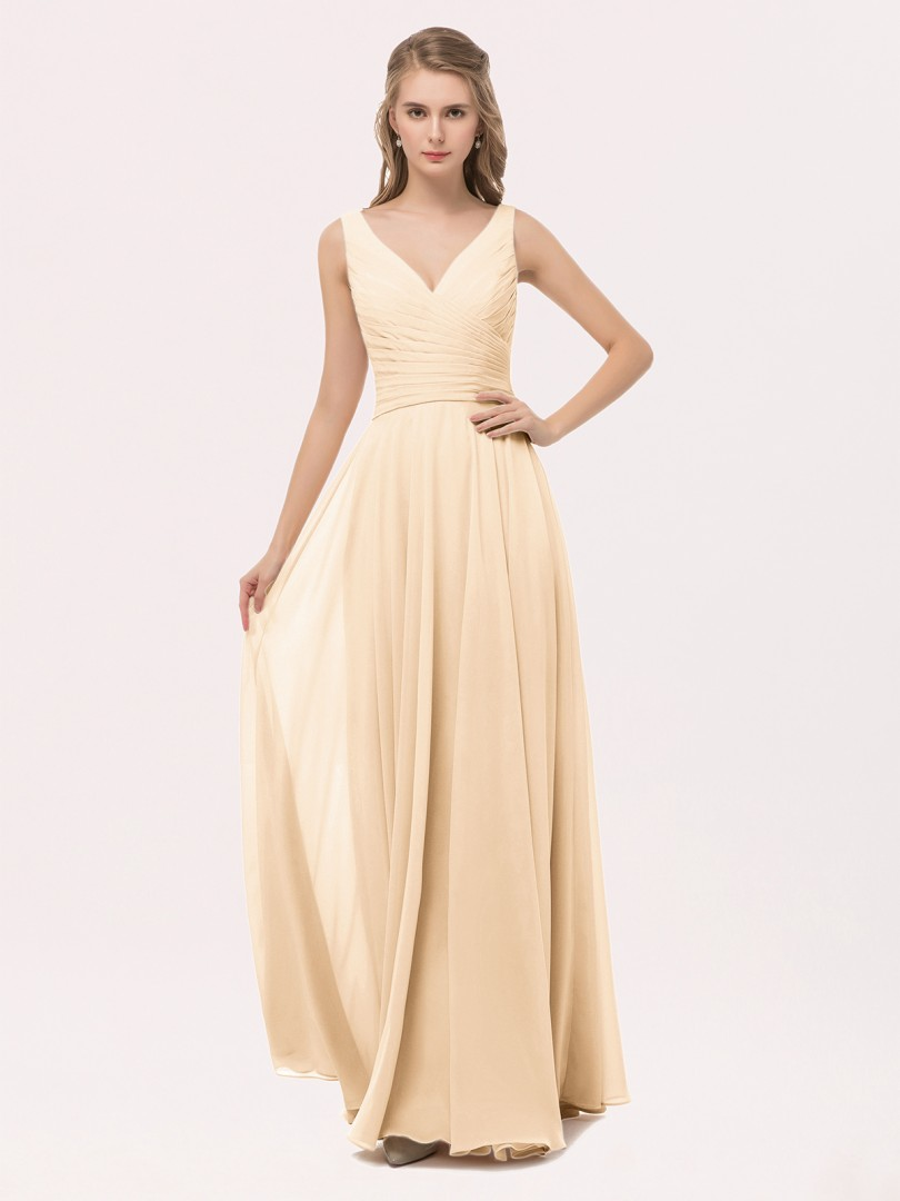 A-line Chiffon Peach Zipper Bow, Sash, Pleated Floor-length V-neck Straps Prom Dresses