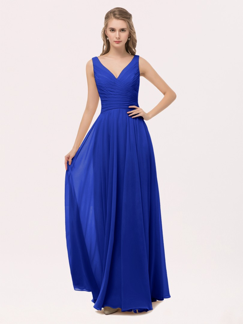 c24881997fd Royal Blue Cassiopeia V Neck Long Chiffon Dress with Bow | BABARONI