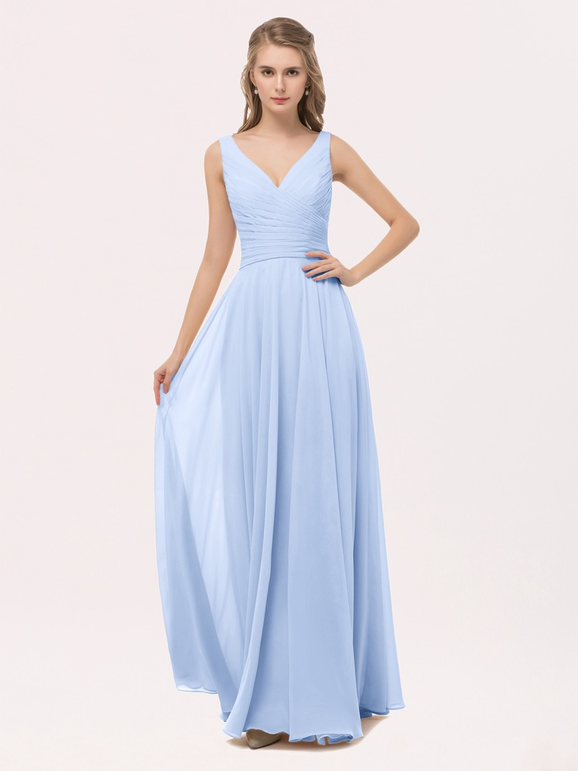 A-line Chiffon Peach Zipper Bow, Sash, Pleated Floor-length V-neck Straps Best Sellers