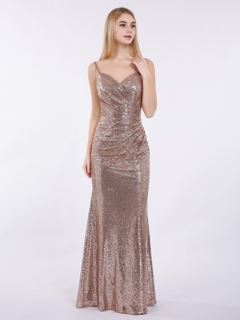 Sheath/Column Sequin Metallic Gold Zipper Pleated Floor-length Sweetheart Spaghetti Straps Prom Dresses