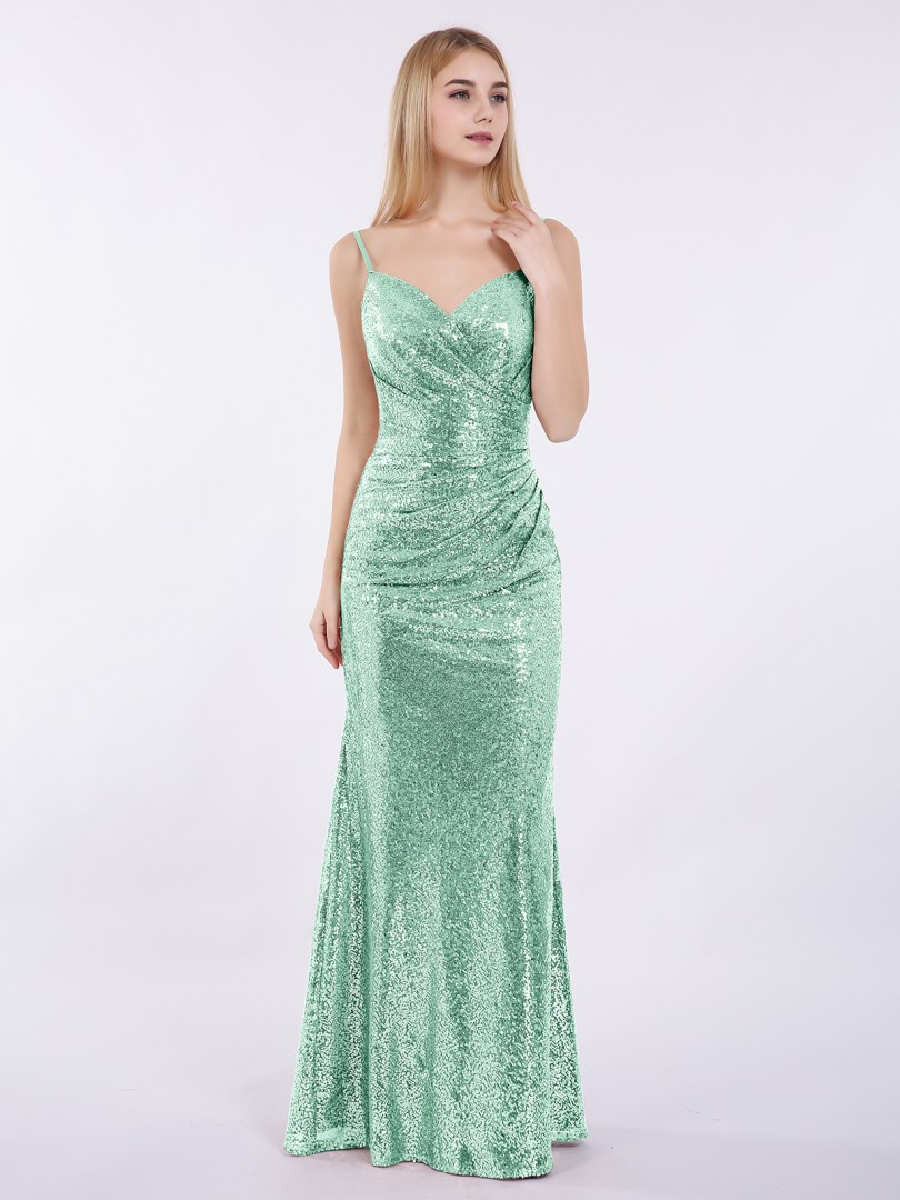 Sheath/Column Sequin Metallic Gold Zipper Pleated Floor-length Sweetheart Spaghetti Straps New Arrivals
