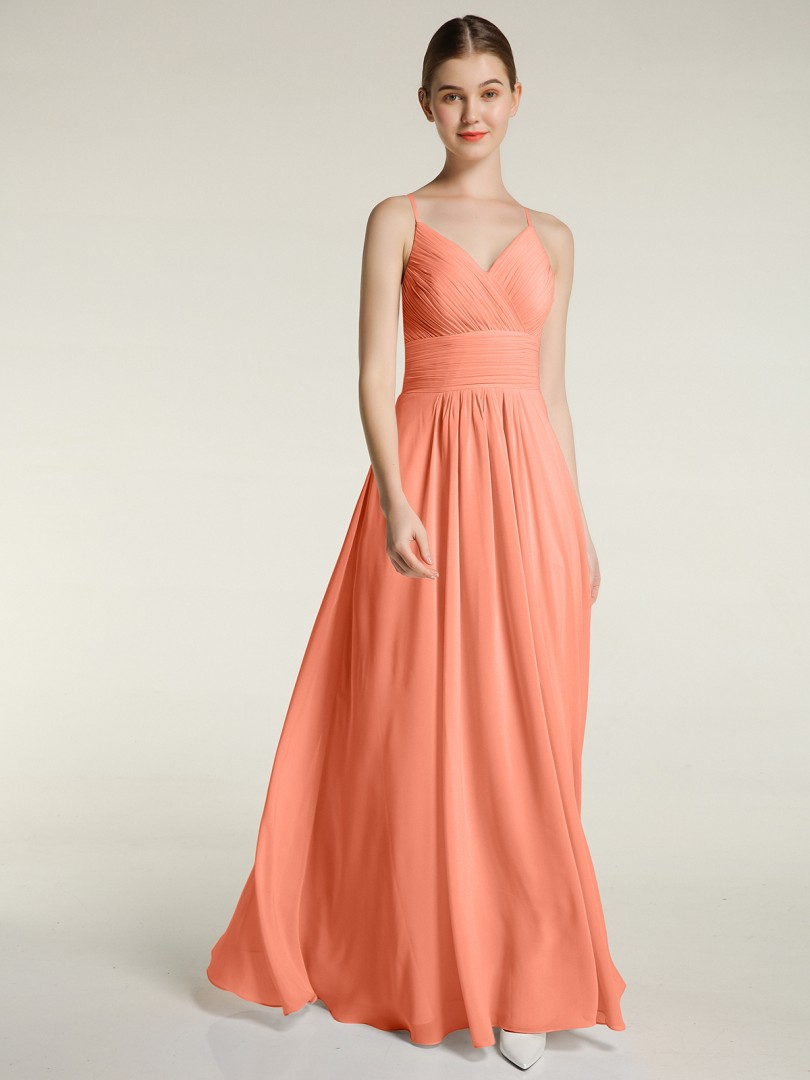 A-line Chiffon Sunset Zipper Ruched, Pleated Floor-length V-neck Spaghetti Straps Bridesmaid Dresses