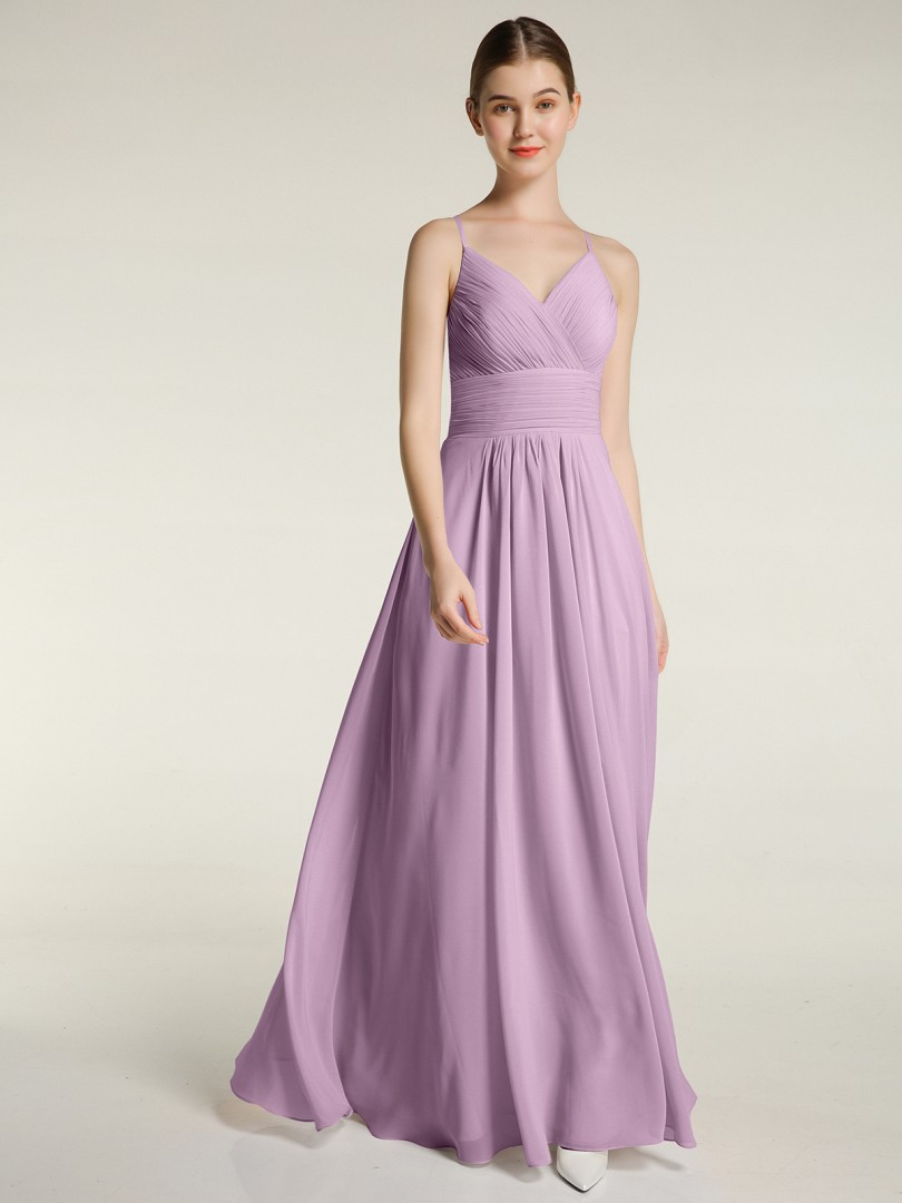 A-line Chiffon Sunset Zipper Ruched, Pleated Floor-length V-neck Spaghetti Straps Long Bridesmaid Dresses