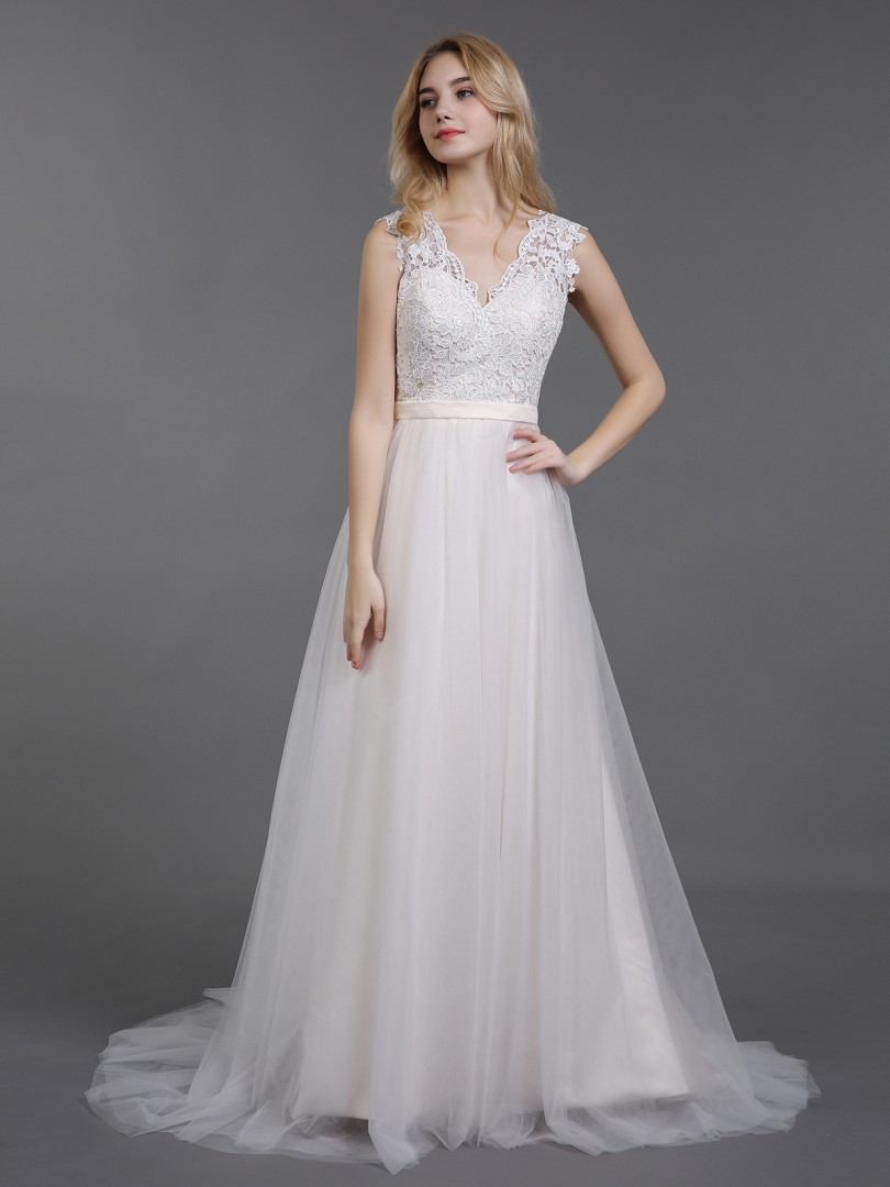 A-line Tulle Ivory Zipper Belt, Bow Sweep/Brush Train V-neck Sleeveless Lace Wedding Dresses