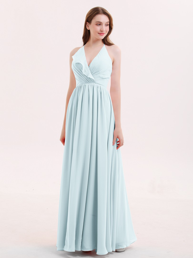 A-line Chiffon Mist Zipper Ruffle Floor-length Scoop Sleeveless Long Bridesmaid Dresses