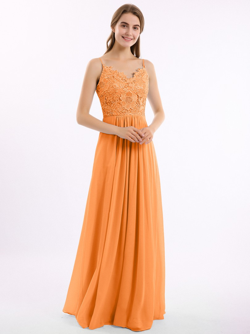 A-line Chiffon Pearl Pink Zipper Belt Floor-length V-neck Spaghetti Straps New Arrivals