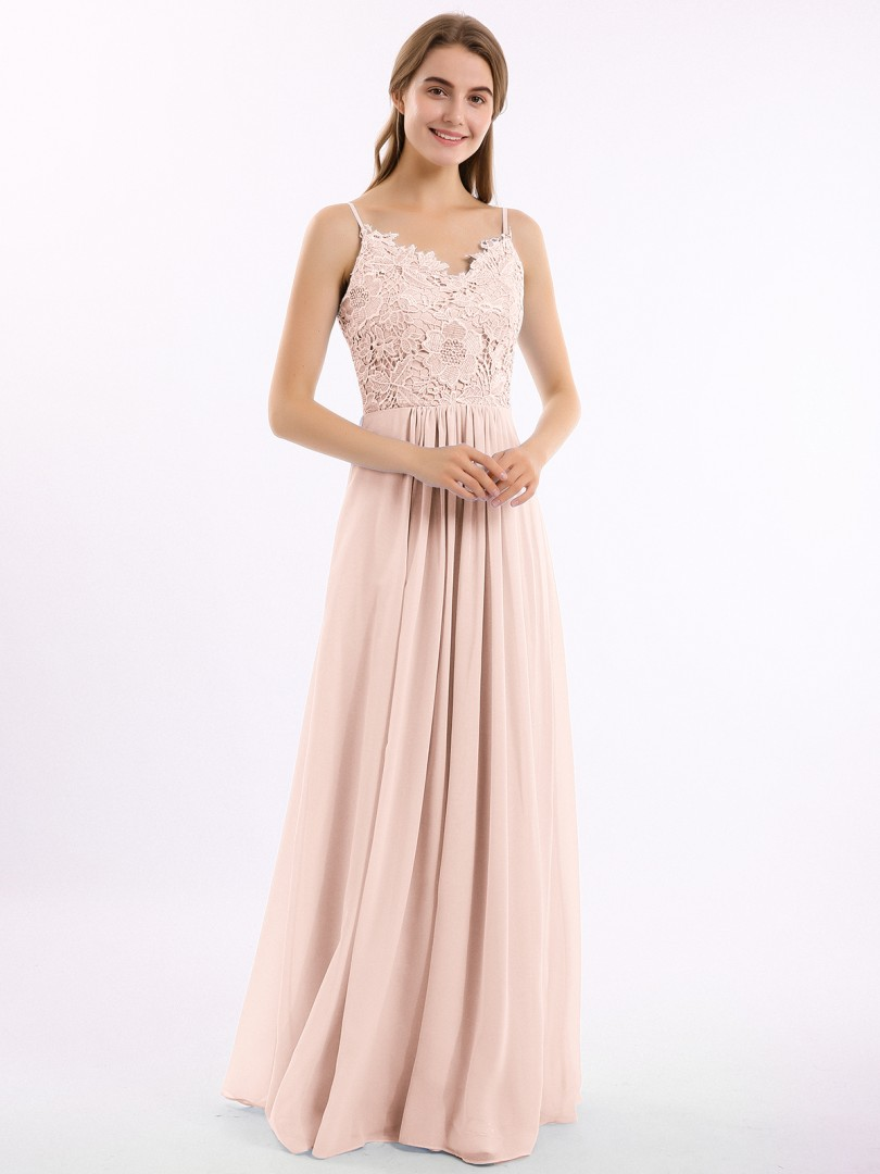 A-line Chiffon Pearl Pink Zipper Belt Floor-length V-neck Spaghetti Straps Long Bridesmaid Dresses
