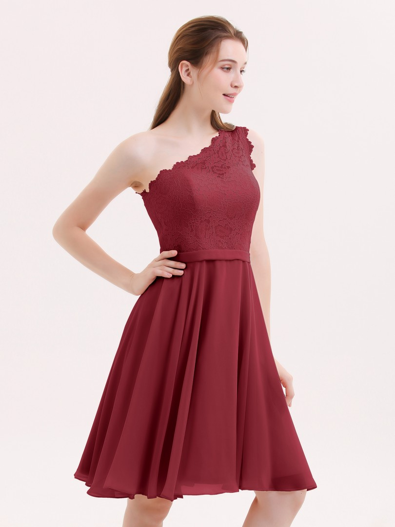 A-line Chiffon Burgundy Zipper Lace Knee-length One Shoulder Sleeveless Short Bridesmaid Dresses