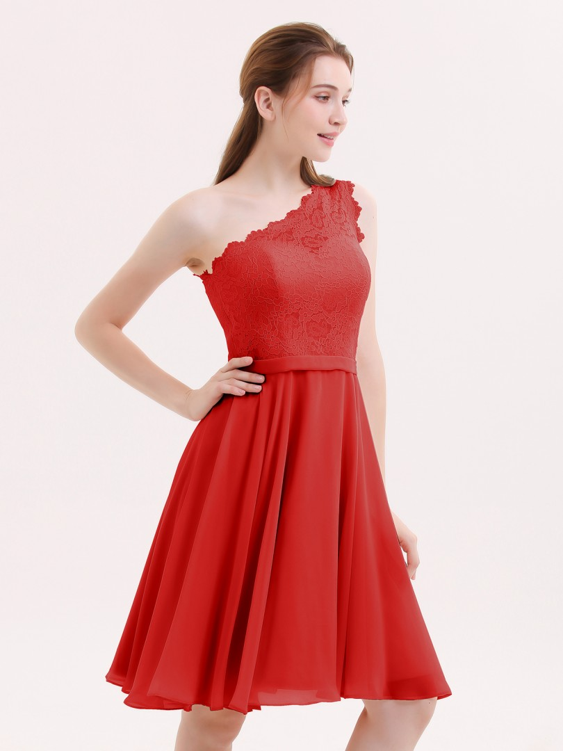 ebe162b61263 A-line Chiffon Burgundy Zipper Lace Knee-length One Shoulder Sleeveless Bridesmaid  Dresses